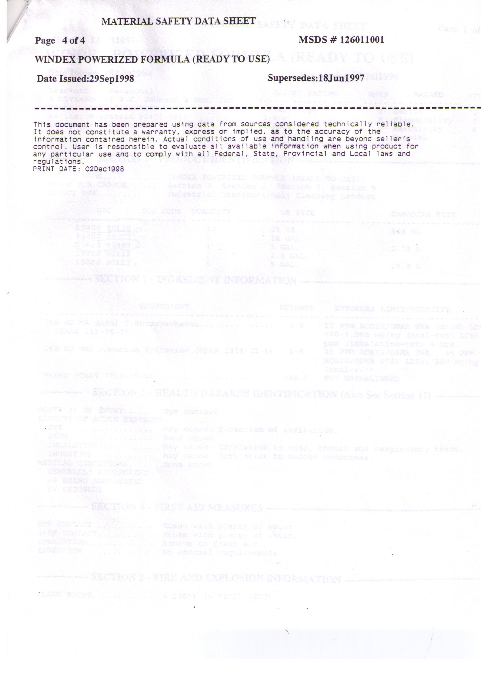 MSDS Sheets | Janice Sales Company