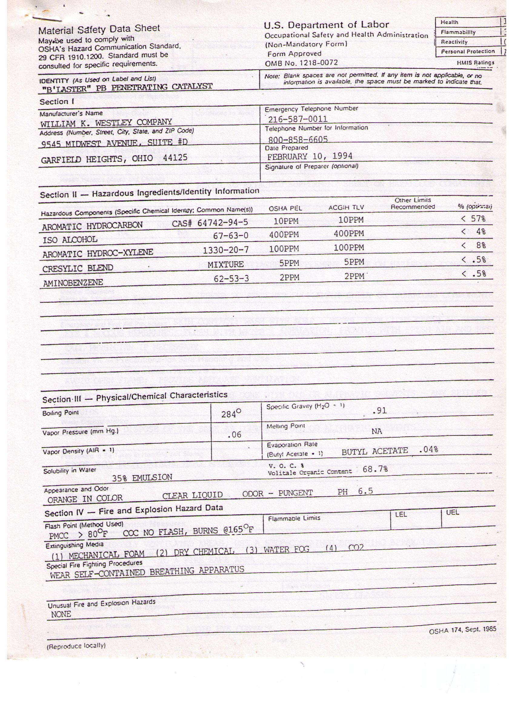 Msds Sheets Janice Sales Company